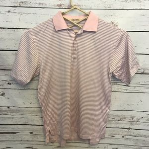Peter Millar large pink striped shirt